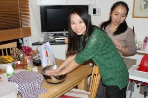Jing Jing kneads the dough