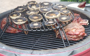 Portobello mushrooms on the grill extender