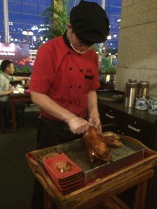 A whole Peking Duck carved at our table