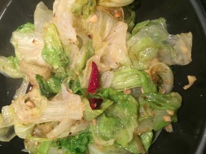 Stir-fried lettuce with chilli and garlic