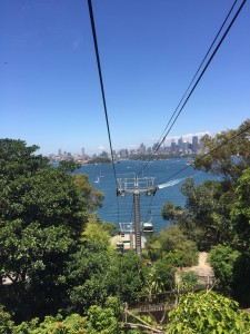A cable car with a view of Sydney Harbour